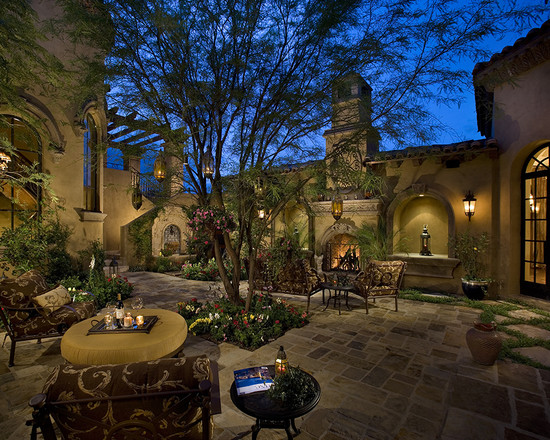 Courtyard Backyard Of A Spectacular Luxury Estate
